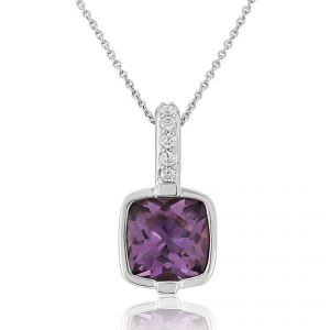 9ct White Gold Square Amethyst and Diamond Pendant