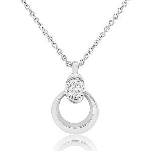 18ct White Gold Circle Diamond Pendant