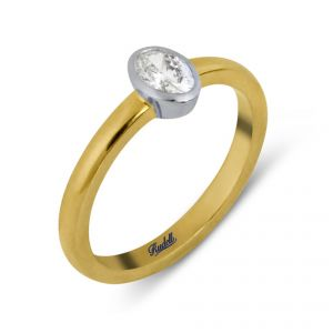 18ct Yellow Gold Oval Cut Rubover Set Diamond Ring - Rudell The Jewellers