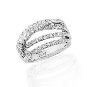 Make a statement with this captivating five row diamond set cross over design ring in 18ct white gold 1.27ct
