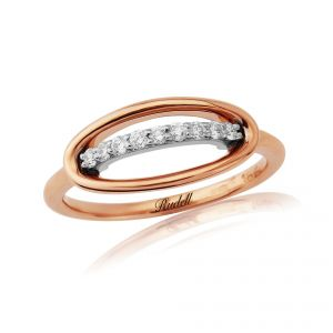18ct Rose Gold Ring with a Diamond Set Bar