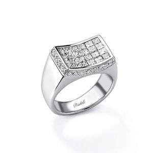 18ct white gold, Princess Cut Diamond Concave Ring
