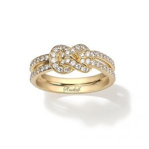 18ct Yellow gold Knot diamond set with 2 row diamond set shoulders - Rudells exclusive ranges