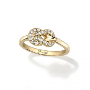 18ct Yellow gold brilliant cut diamond set Knot ring - Rudells exclusive ranges