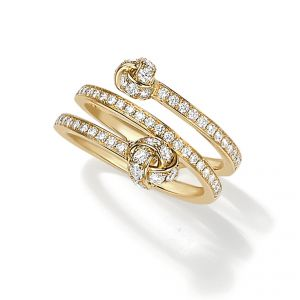 18ct Yellow gold knot diamond set spiral ring - Rudells exclusive ranges