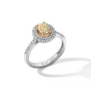 18ct white gold Oval yellow and white diamond ring