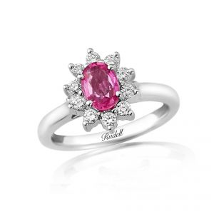 Delicate and stunning Oval Pink Sapphire cluster ring  in an 18ct White gold Claw setting surrounded by brilliant cut diamonds D0.30ct PS0.95ct