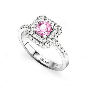 18ct White Gold Pink Sapphire Ring with Diamond Surround