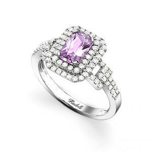 18ct White Gold Pink Sapphire and Diamond Surround Ring