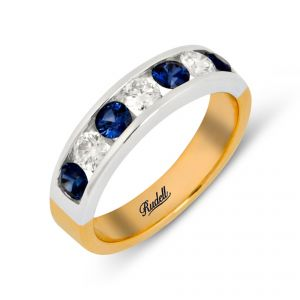 Ring - 18ct Yellow and white gold 4 stone sapphire  and 3 stone diamond channel set