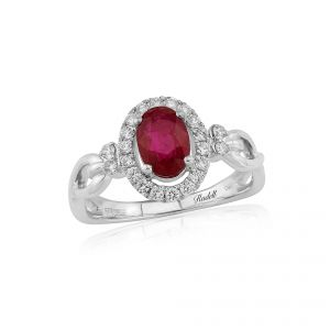 18ct white gold ring ruby, diamond figure eight shoulders