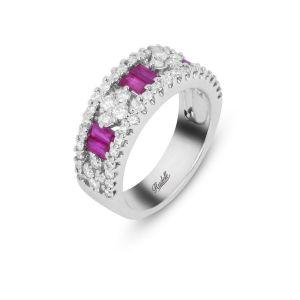 18ct White Gold Baguette Ruby and Diamond Ring