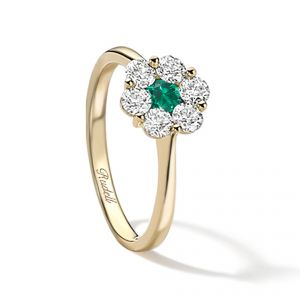 18ct Yellow gold emerald and diamond Daisy Ring - Rudells exclusive ranges
