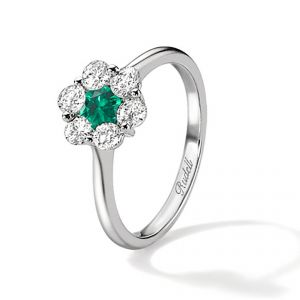 18ct White Gold Emerald And Diamond Daisy Ring - Rudells exclusive ranges