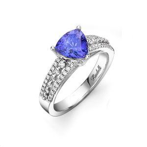 14ct Triangular Tanzanite and Diamond Ring