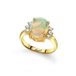 18ct Yellow Gold Oval Opal and Diamond Ring