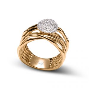 18ct Yellow Gold 7 Row Ring With A Pave Set Diamond Circle