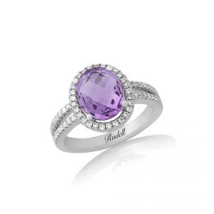 18ct white gold oval amethyst and split shoulder diamond ring