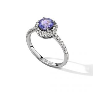 10ct white gold tanzanite and diamond cluster ring