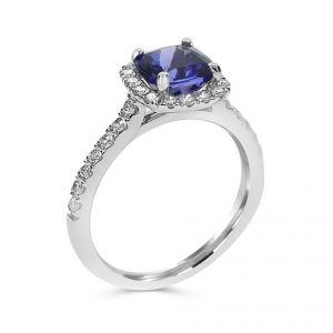 18ct White gold square Tanzanite ring with diamond set surround and diamond set shoulders