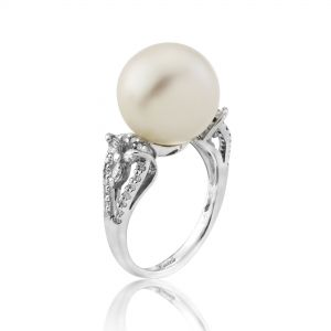 18ct White Gold White South Sea Pearl and Diamond Ring