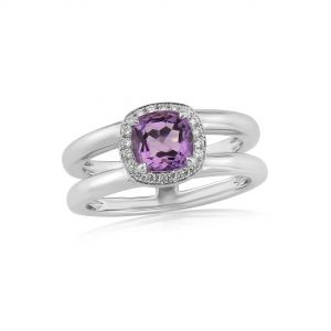 Twin collection 9ct white gold and amethyst ring