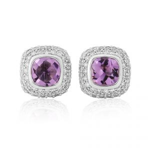 18ct White Gold Amethyst and Diamond Earrings