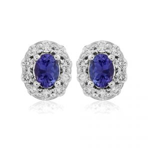 18ct White Gold Oval Tanzanite and Diamond Cluster Earrings