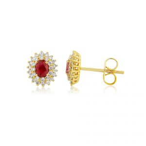 18ct Yellow gold earrings with a luscious ruby heart and a glamorous double row of diamonds for as a surround
