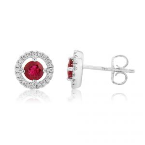 18ct White gold earrings with a round ruby cradled delicately in the heart of a loop of glamorous diamonds.