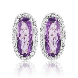 18ct White Gold Lozenge Amethyst Earrings