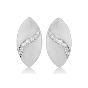 Rudells Dune 18ct White Gold Diamond Set Earrings