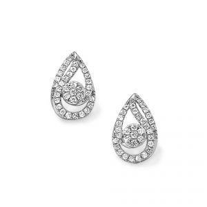 18ct white gold Pave set diamond earrings