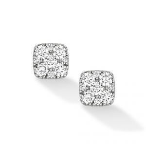 18ct White gold square Daisy diamond set earrings - Rudells exclusive ranges