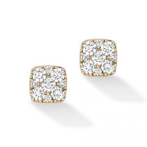 18ct Yellow gold square Daisy diamond set earrings - Rudells exclusive ranges