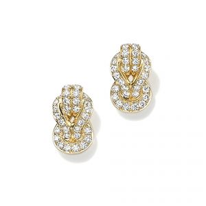 18ct Yellow gold knot diamond set earrings - Rudells exclusive ranges