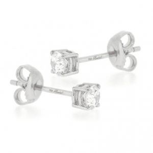 18ct White gold single stone brilliant cut Earrings