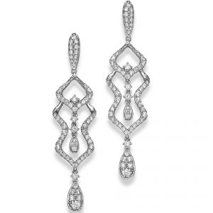 18ct White Gold Dropper Earrings with Diamond Detailing
