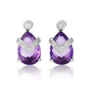 18ct White Gold Amethyst and Diamond dropper Earrings