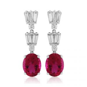 18ct White Gold Rubelite and Diamond Dropper Earrings