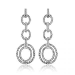 18ct White Gold Diamond set Dropper Earrings