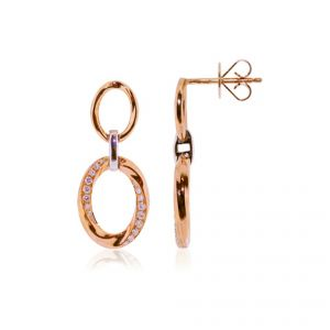Gold dropper diamond earrings with 18ct rose and white gold - Rudells exclusive ranges