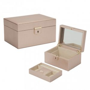 Wolf Palermo rose gold coloured leather jewellery case with LusterLoc
