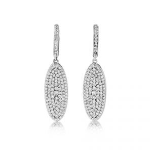 18ct White Gold Diamond set pave oval droppers