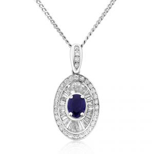 Stunning Unique Art Deco Design pendant with an oval cut sapphire in concave 18ct white gold setting surrounded by tapered baguette and brilliant cut diamonds (excluding chain) D1.14ct S1.98ct