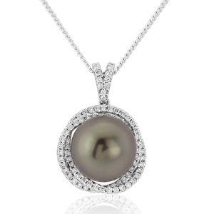 18ct White Gold Tahitian Black Pearl and Diamond Pendant