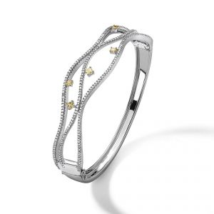 18ct white gold bangle with white and yellow diamonds