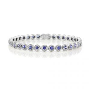 18ct White Gold Sapphire and Diamond Cluster Bracelet