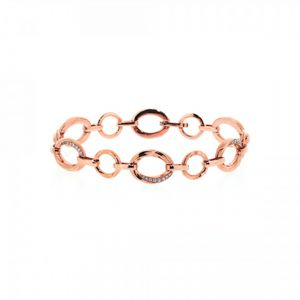18ct rose gold round link bracelet with diamonds - Rudells exclusive ranges