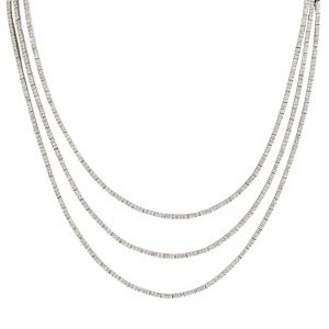 18ct White Gold 3 Row Diamond Necklet - Rudell The Jewellers